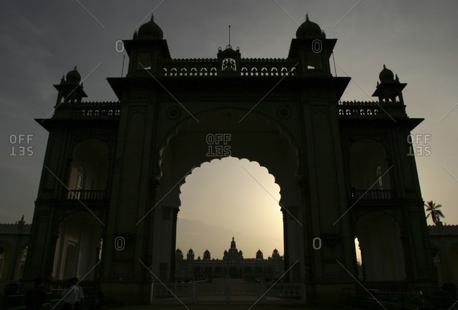 Silhouette of an entrance to mysore palace in india