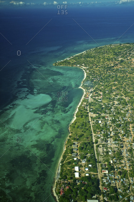 An aerial view of Pemba, a city in Mozambique on the Indian Ocean