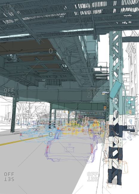 People and cars under the metal railway structure of the J Line, heading out towards Brooklyn