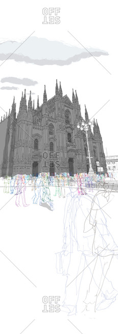 People taking a Sunday walk past of Milan cathedral