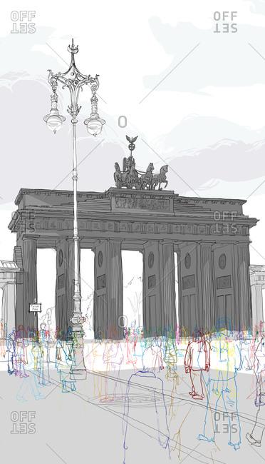 Passage of people through the Brandenburg gate