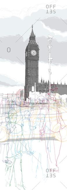 Hustle and bustle of traffic below Big Ben
