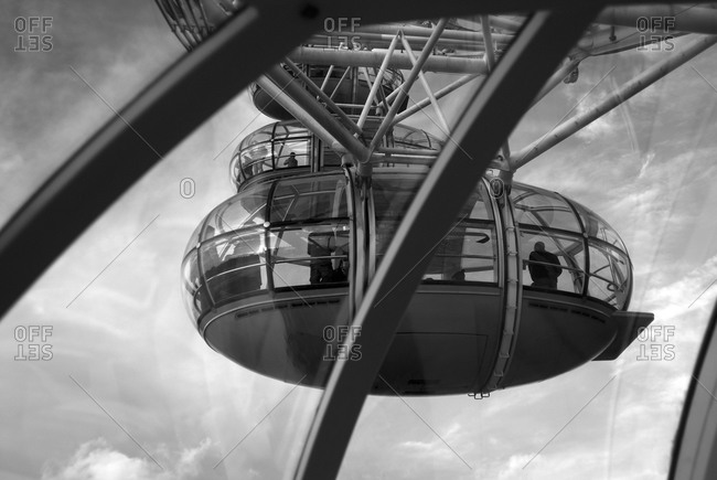 Looking Up At Capsules On Millennium Wheel Black And White