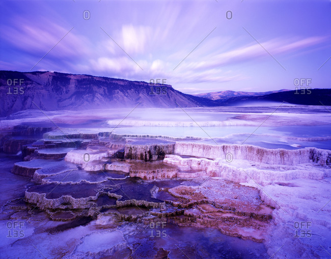 Mammoth Hot Springs At Dusk In Yellowstone National Park