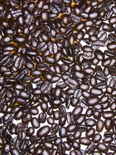 Coffee beans with partial coffee spill