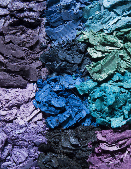 Abstract pattern of crushed and crumbled eyeshadows