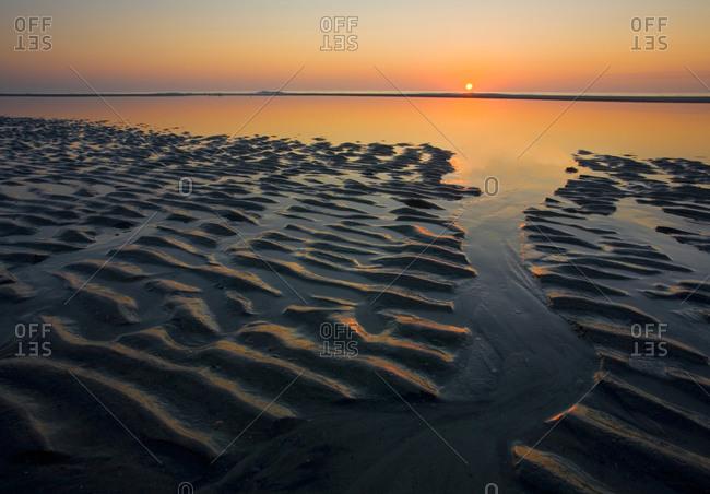 Sunrise and sand ripples, Hunting Island, South Carolina