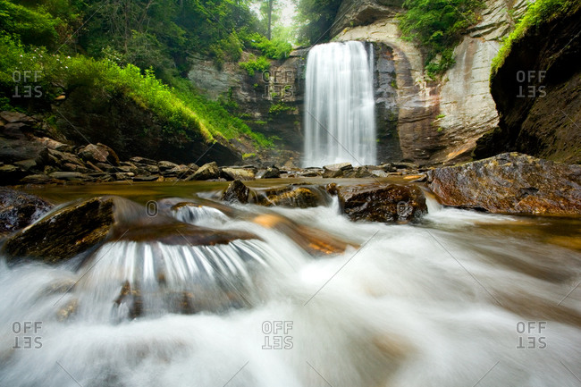 Looking Glass Falls, Pisgah Forest, North Carolina in summer