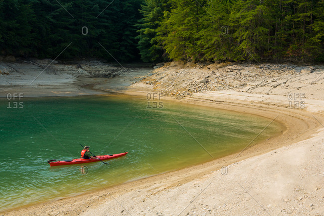 Kayaking Lake Jocassee at South Carolina, USA