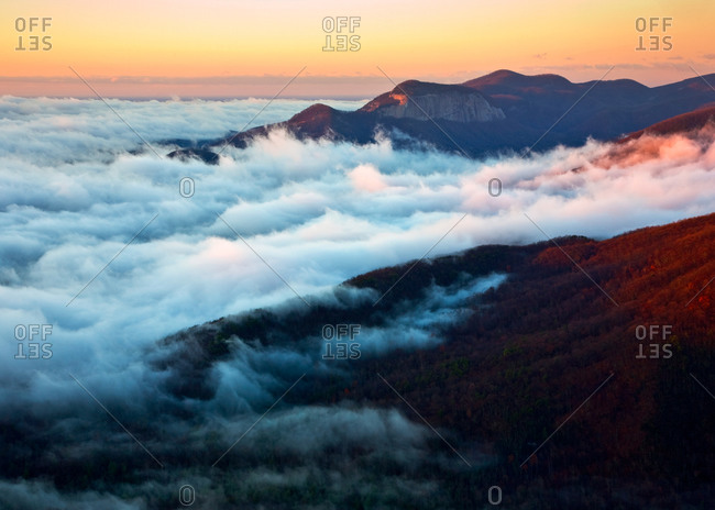 Ground fog in the Mountain Bridge Wilderness Area of South Carolina and Table Rock Mountain as seen from Caesars Head