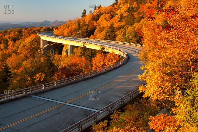 Linn Cove Viaduct in autumn in Blue Ridge Parkway, North Carolina