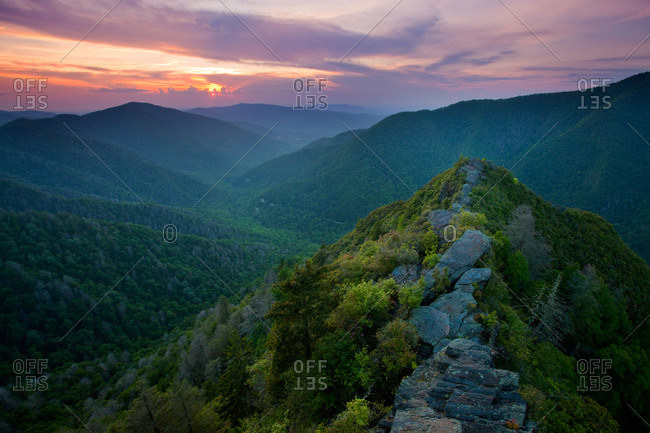 Sunset from the Chimney Tops in Great Smoky Mountains National Park, Tennessee