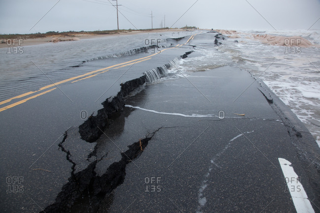 Surging tide from storm does damage to Highway 12 near Rodanthe in Hatteras Island, Outer Banks, North Carolina