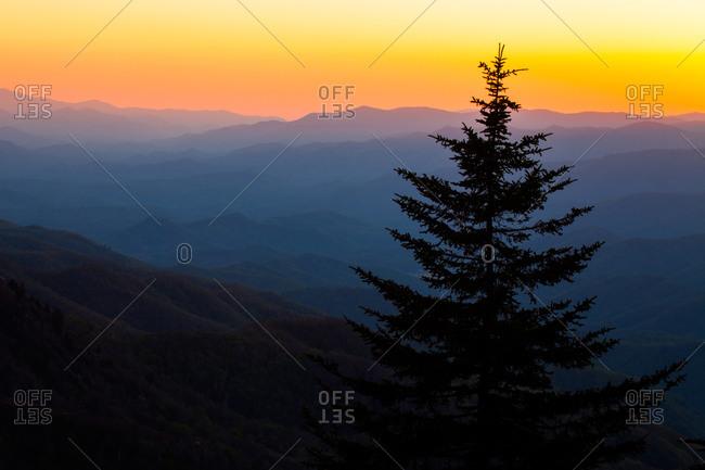 View from Waterrock Knob at sunset, Blue Ridge Parkway, North Carolina