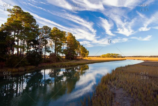 Tidal stream and marsh, Kiawah Island, South Carolina
