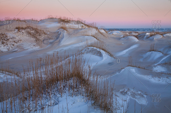 Coastal dunes with Snow Dusting at Hatteras Island, Cape Hatteras National Seashore, North Carolina