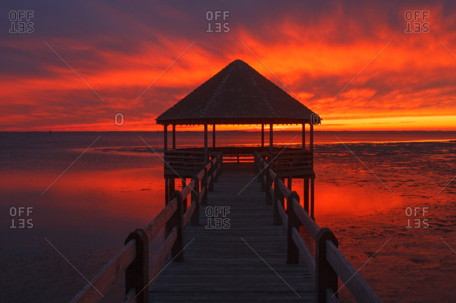 Sunset over the Currituck Sound, Whalehead Club at North Carolina Outer Banks