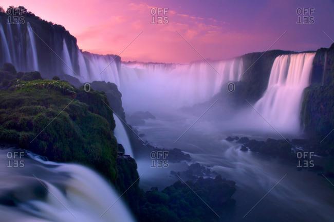 Iguazu Falls and the Devils Throat at sunrise, Iguazu National Park, Brazil