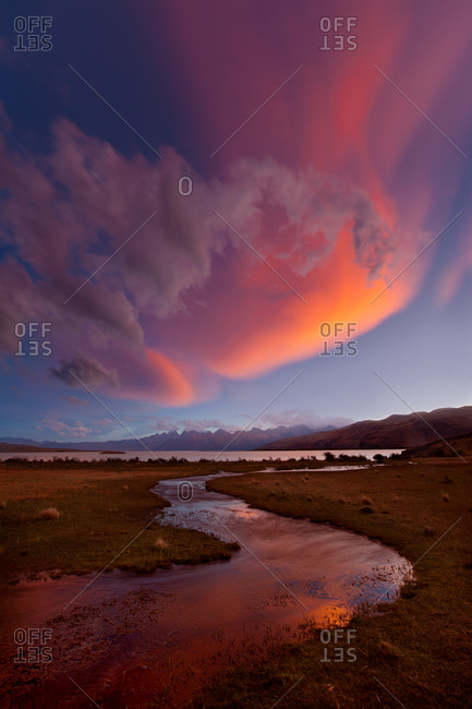 Colorful clouds at sunset at Lago Viedma in Patagonian Argentina