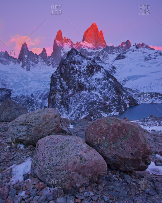 Alpenglow on the Fitz Roy massif in Los Glaciares National Park, Argentina