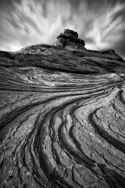 Black and white rock formation in Arches National Park, Utah, USA