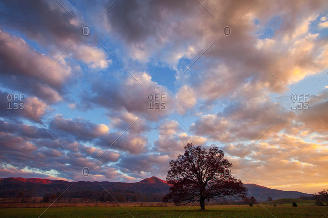 Morning breaking over Cades Cove in Great Smoky Mountains National Park, Tennessee, USA