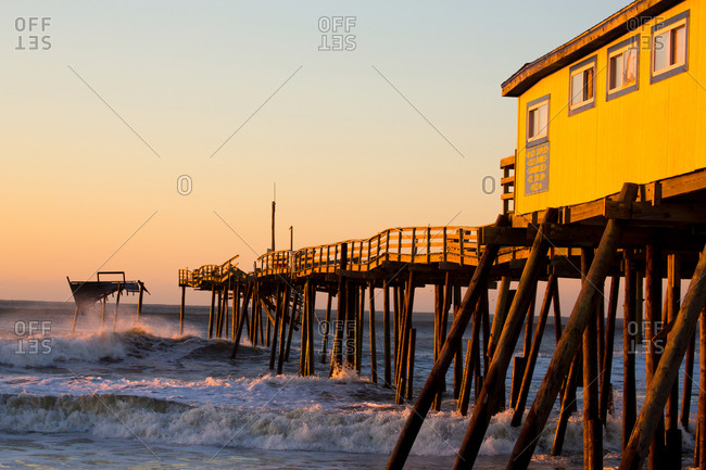 Frisco Pier battered by storms and hurricanes at Cape Hatteras, Outer Banks in North Carolina, USA