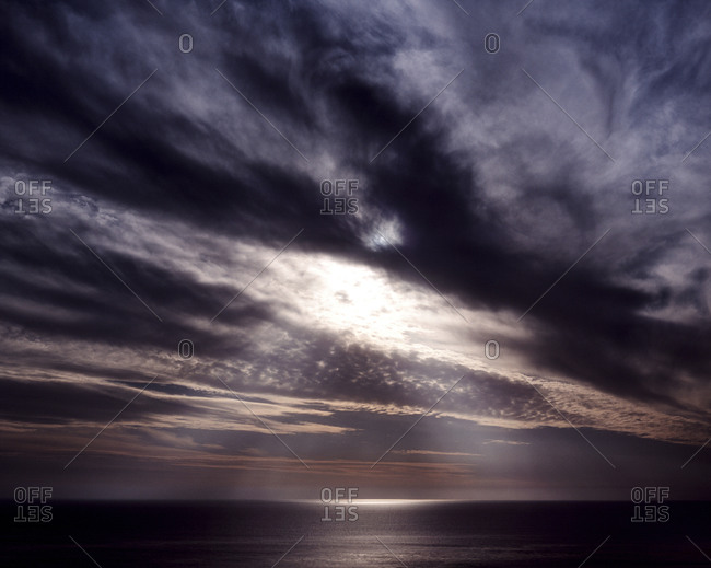 Sun Rays Through The Clouds In A Dramatic High Contrast Sunset Or Sunrise Dana Point California