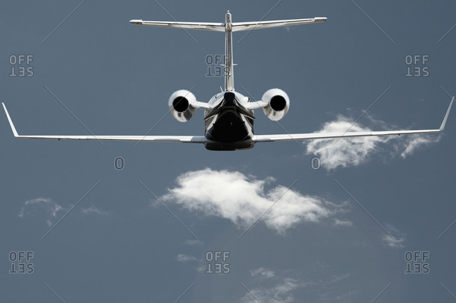 A private jet flying in the sky