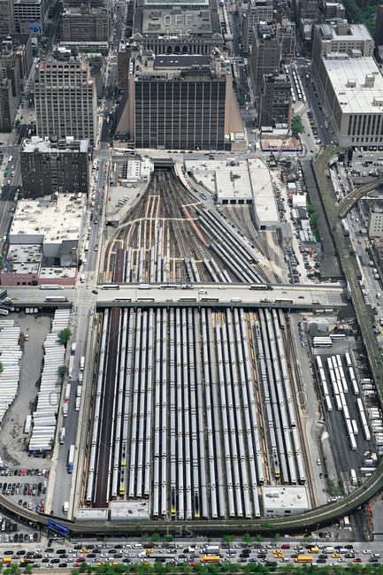 Aerial view of  the West Side rail yards