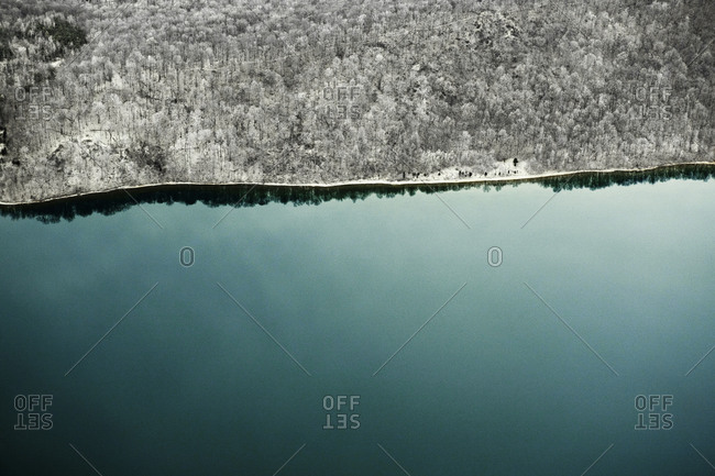 Aerial view of Hudson River at winter