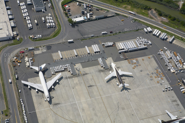Aerial view of airplanes and airport
