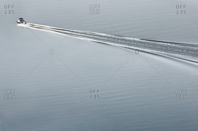 Aerial view of speed boat