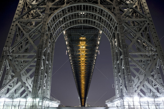 Under George Washington Bridge's Manhattan at night