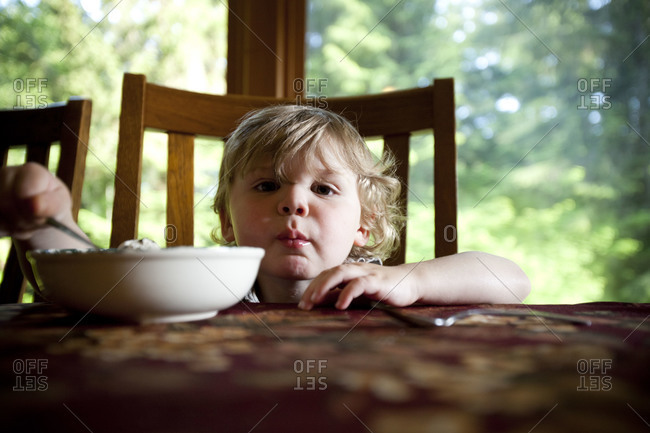 Adorable little kid eating cereal for breakfast in the dining room