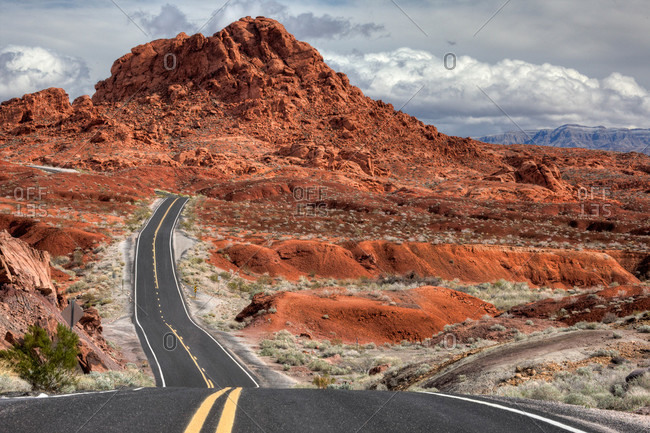 The Valley of Fire Highway winds towards Lake Mead, Nevada