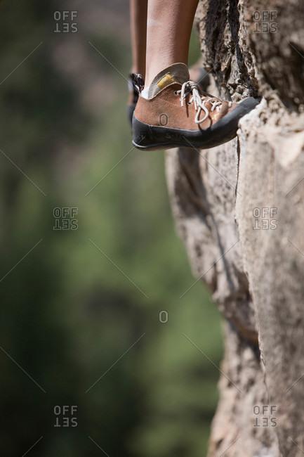 Rock climbers feet