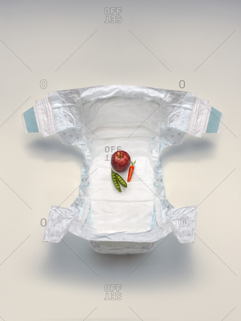 Baby diaper with fresh produce