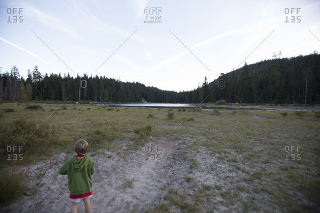 a child stands alone in a field