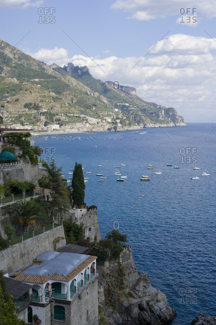 Beautiful coastal view with boats at Amalfi, Italy