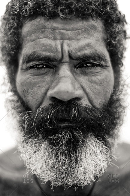Close up of an old black man with beard