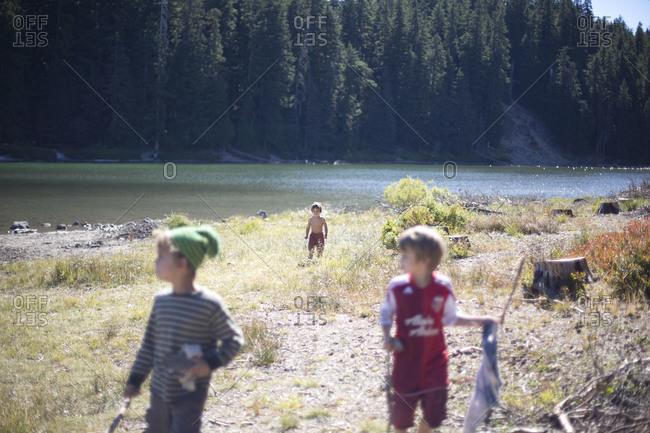 Three little children in the nature.