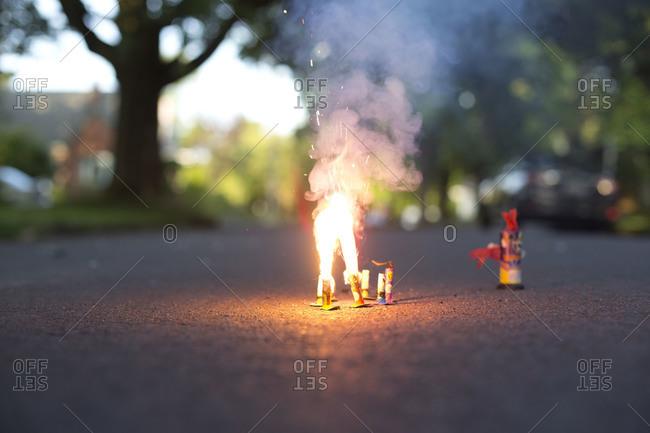 Fireworks on the asphalt, closeup