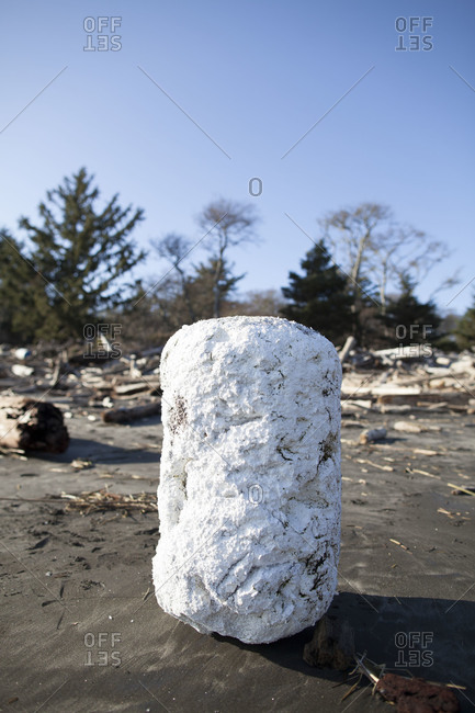 Piece of white foam on seashore