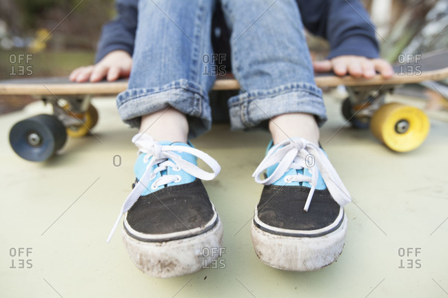 Close-up of the shoes of skateboarder