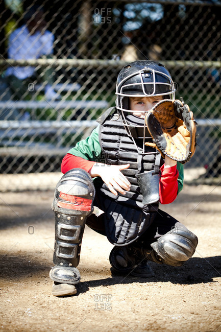 Baseball catcher ready for the game