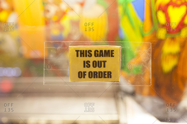 This game is out of order message on paper sticker