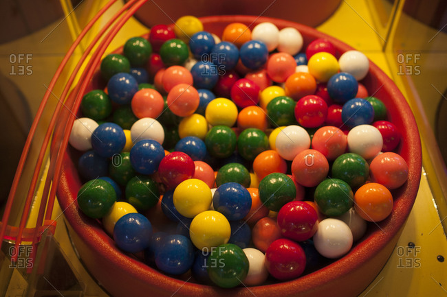 Colorful bubble gums in gumball machine