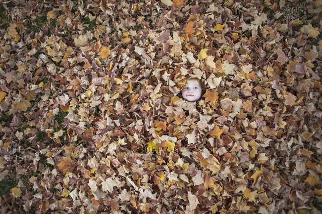 Young  girl buried in autumn leaves