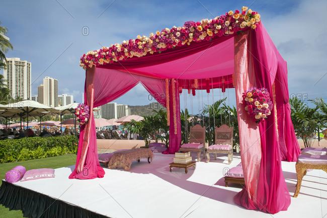 Pink decorations at Hindi wedding Pink decorations at Hindi wedding & hindi stock photos - OFFSET